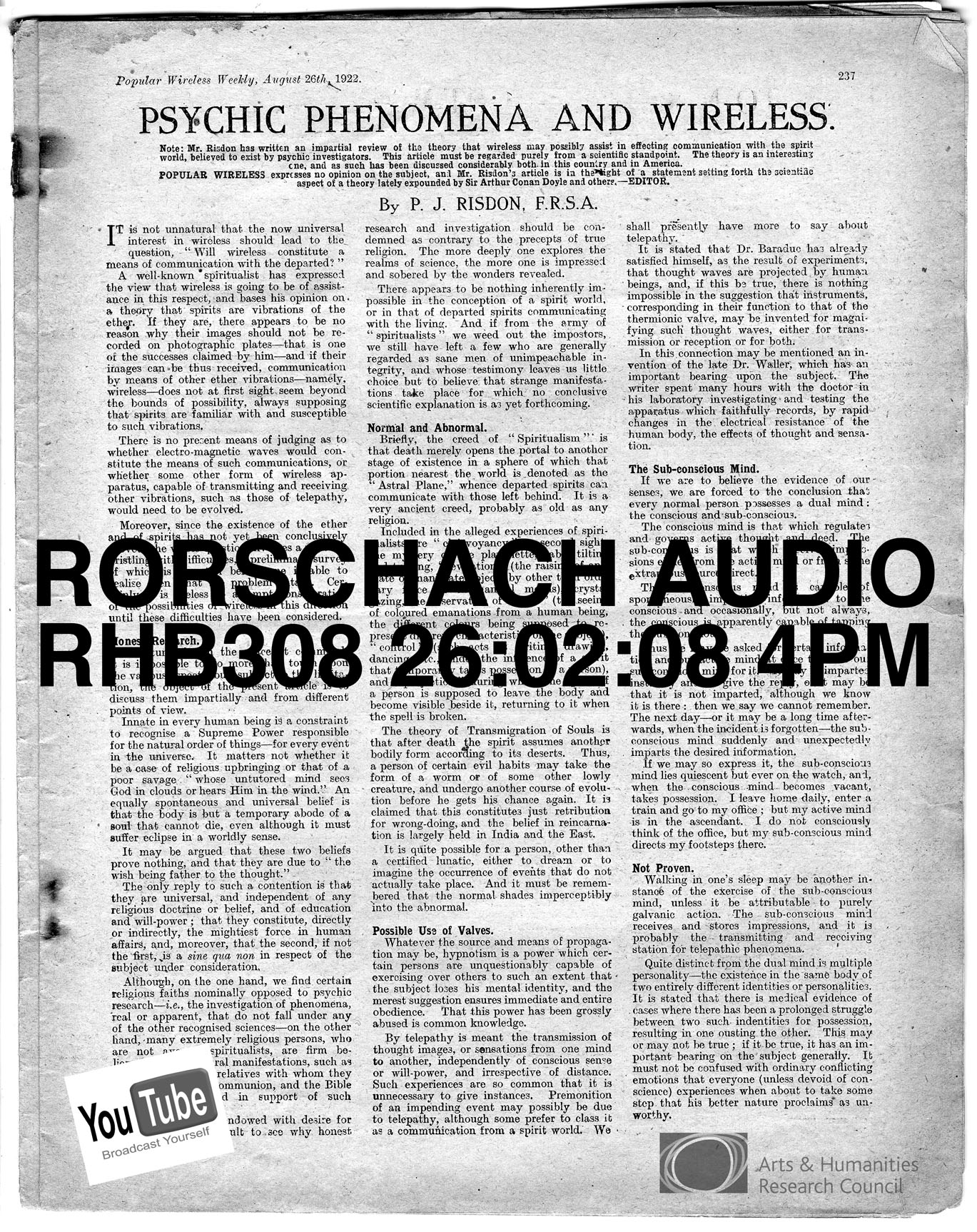 rorschach research paper